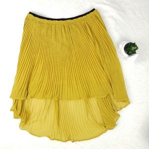 Anthropologie Mustard High-Low Pleated Skirt